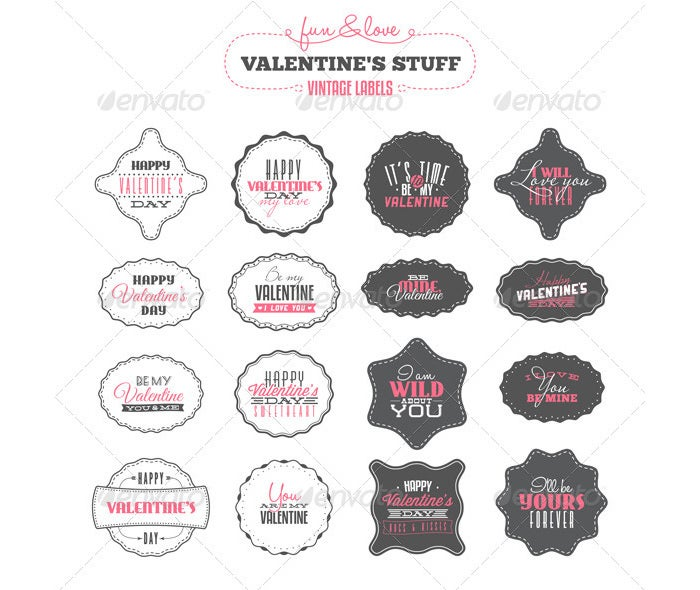 set of valentines day vintage labels