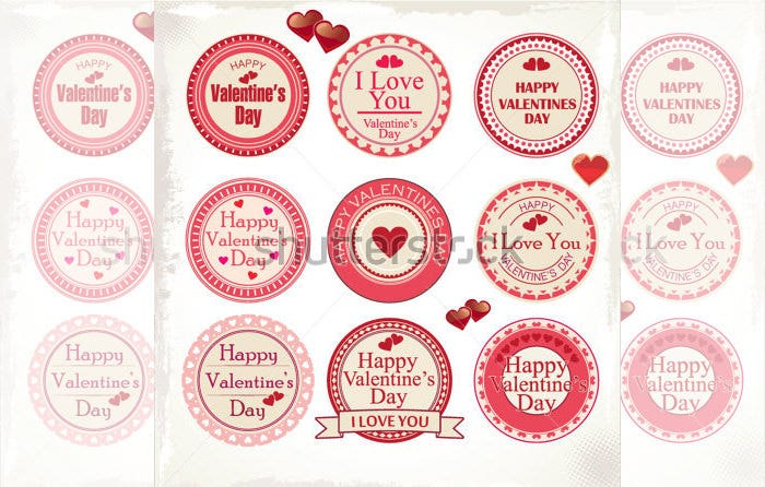 set of valentines day love labels