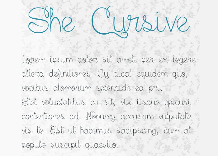 She Cursive Script Font