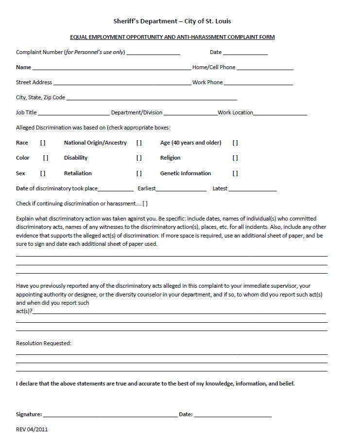 Sample EEOC Caomplaint Form