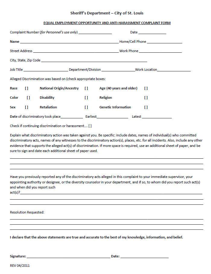 Sample EEOC Complaint Forms Free U0026 Premium Templates