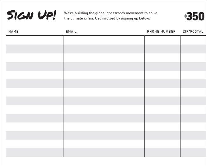 Sign Up Sheets   Free Word Excel Pdf Documents Download