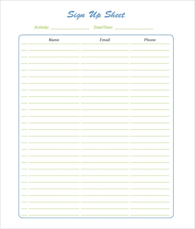 Great Sign Up Sheet Template PDF