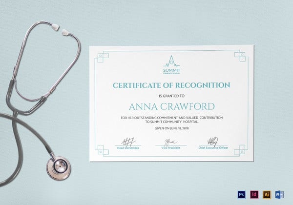 simple medical certificate of recognition template
