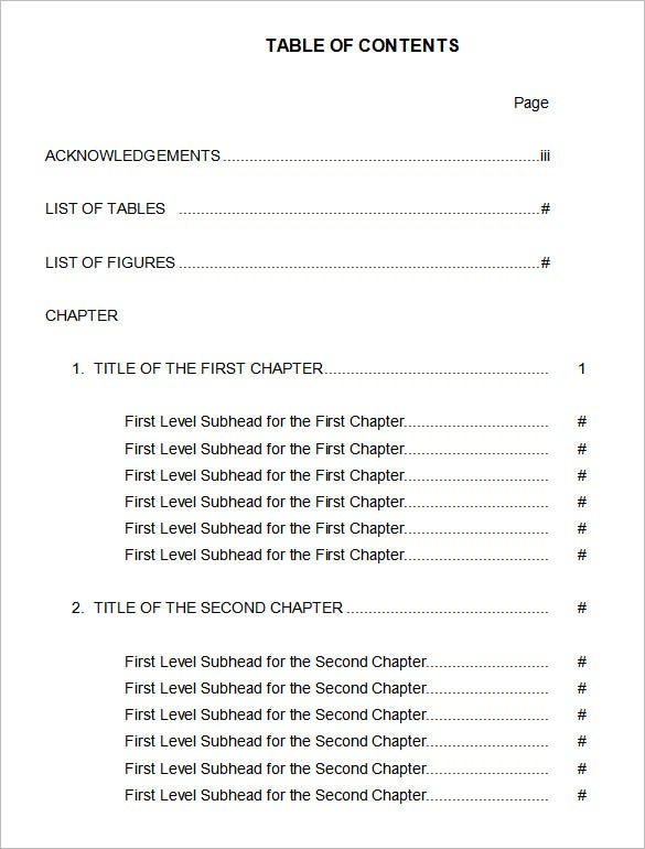 simple table of contents template in word