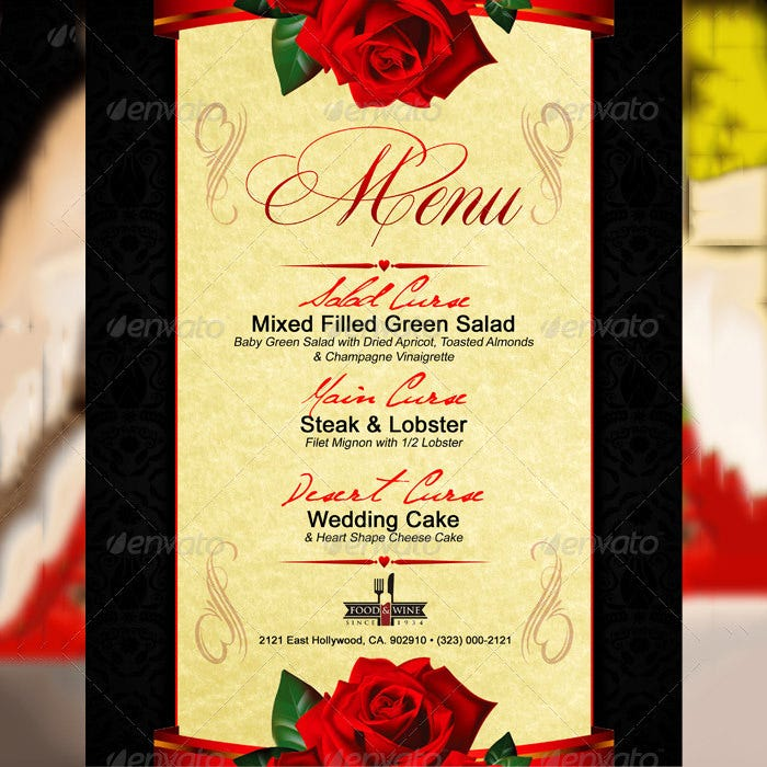 Sample Valentine's Menu Template