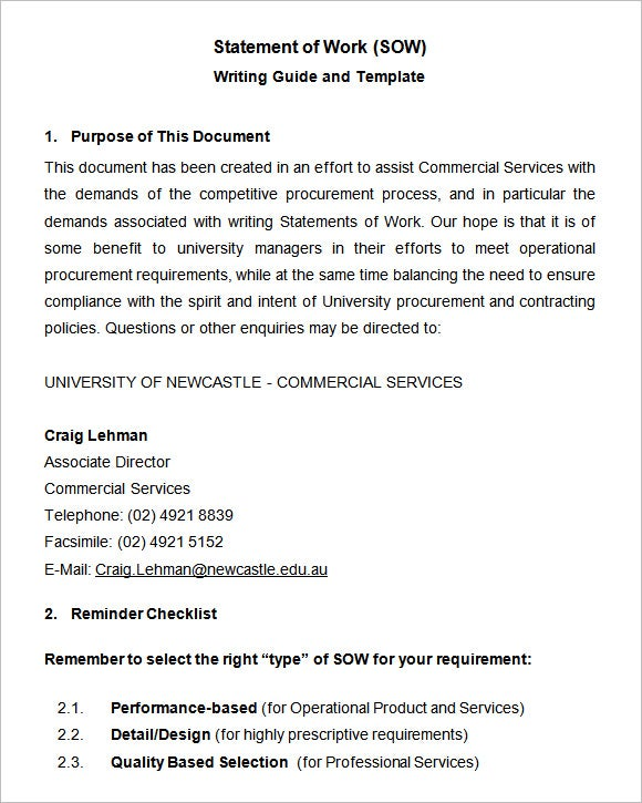 Statements of Work Templates Free Statement of Work Template