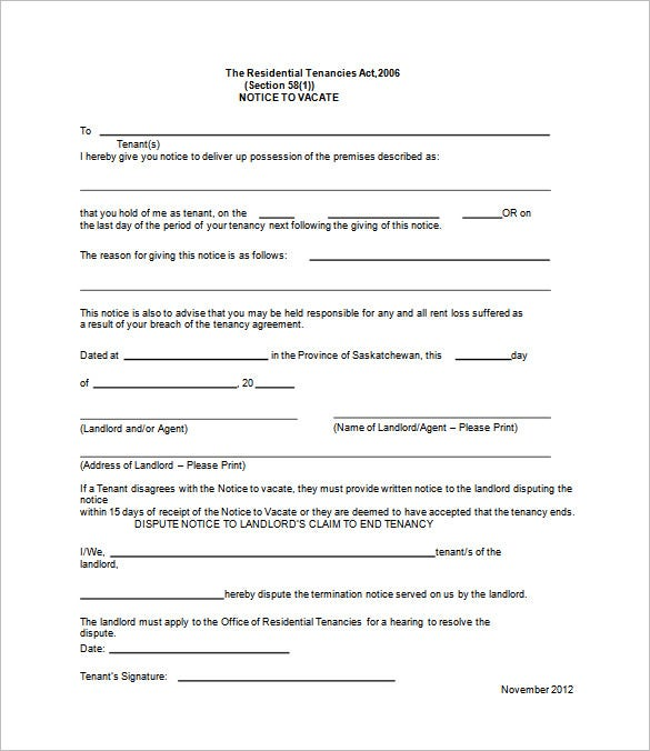 Tenant Eviction Notice Template. Free Download  Free Notice To Vacate