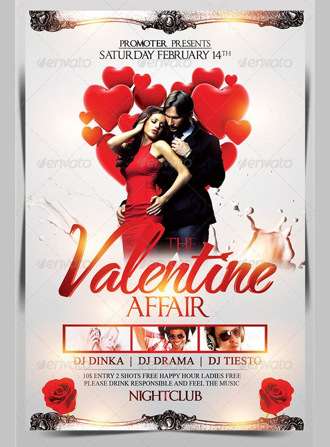 the valentine affair party flyer