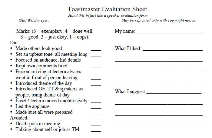 toastmaster evaluation sheet