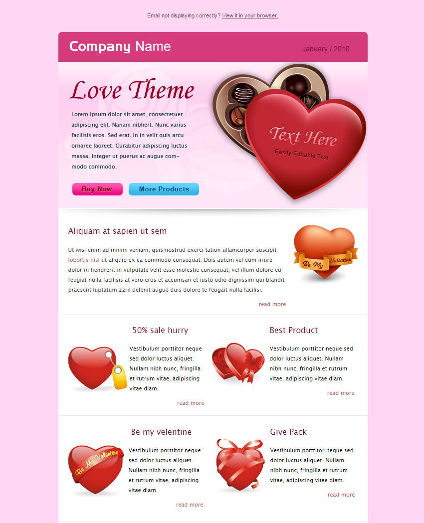 valentine business email template