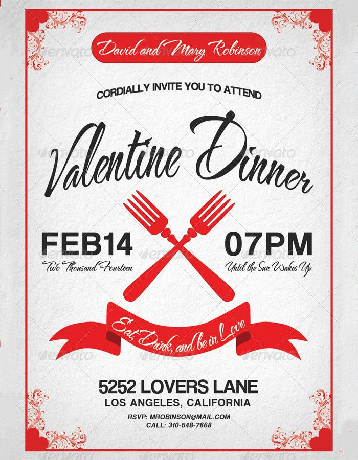 valentine dinner invitation