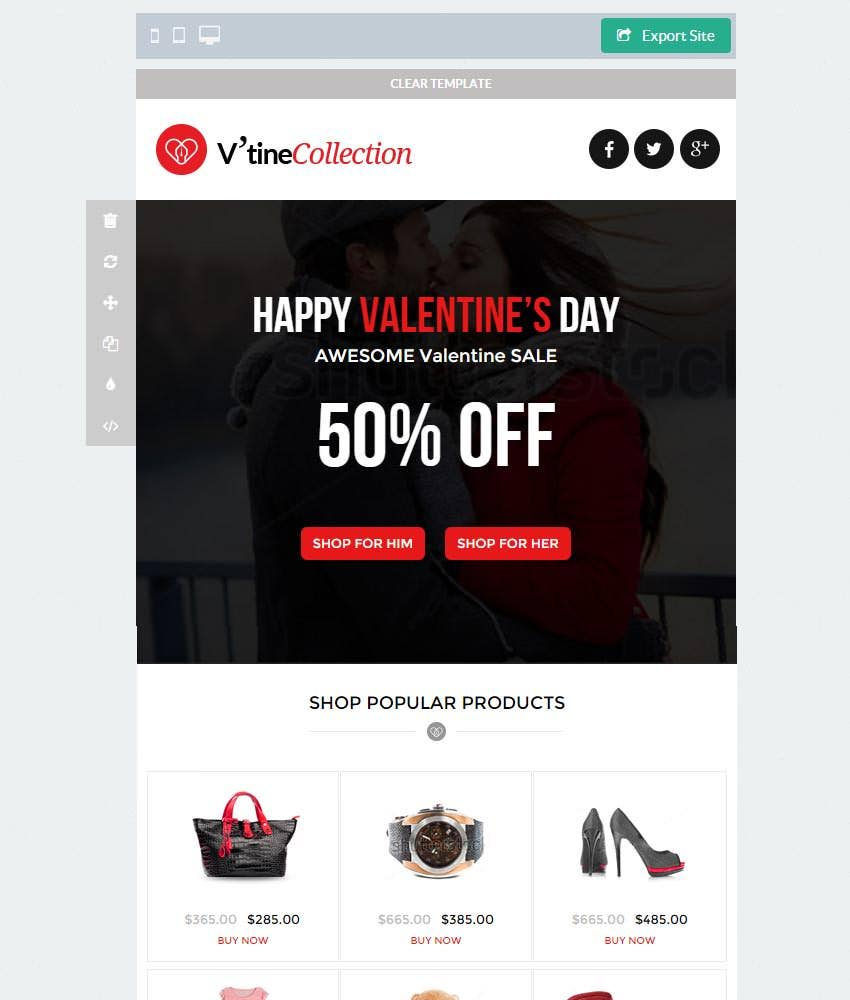valentine emarketing template