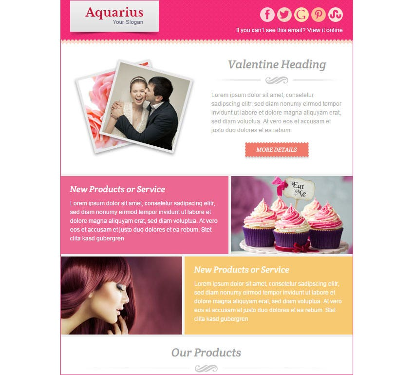 15 best valentines emails newsletter templates free for Free promotional email templates