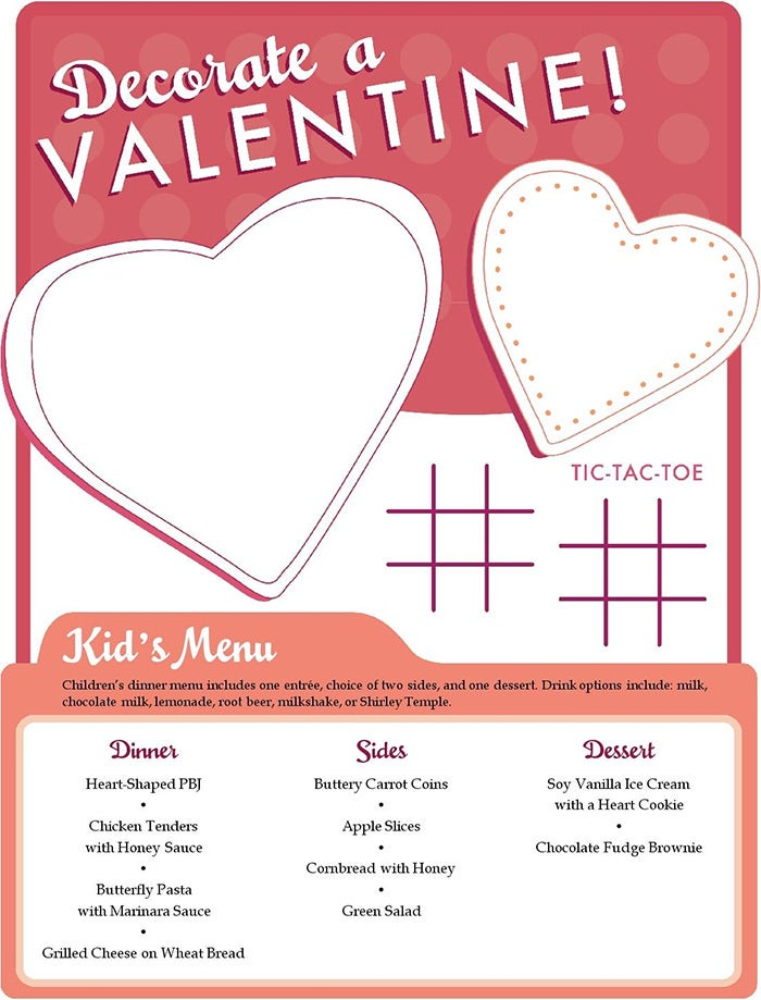 valentine kids menu