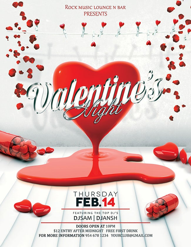 53 Fabulous Psd Valentine Flyer Templates Designs Free