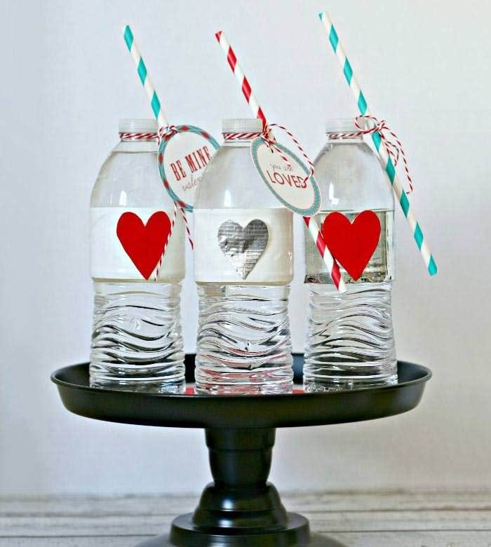valentine party water bottles with duck brand