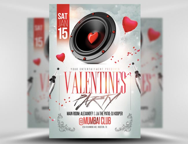 valentine speaker party flyer template