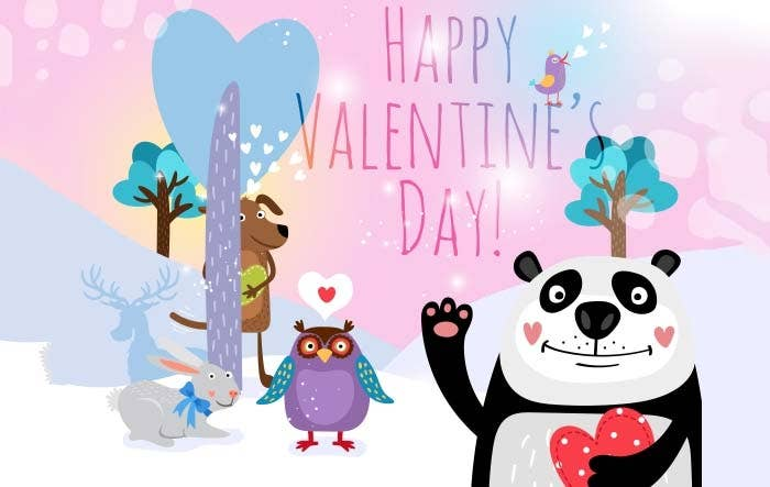 valentine vector animals background