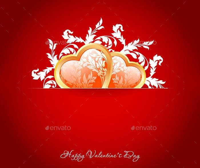 valentines day greeting card on red background