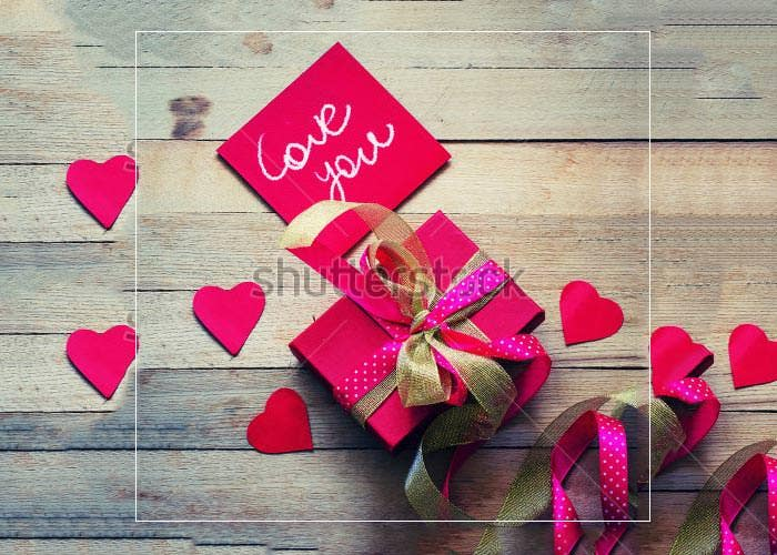 valentines day greeting card with beautiful gift
