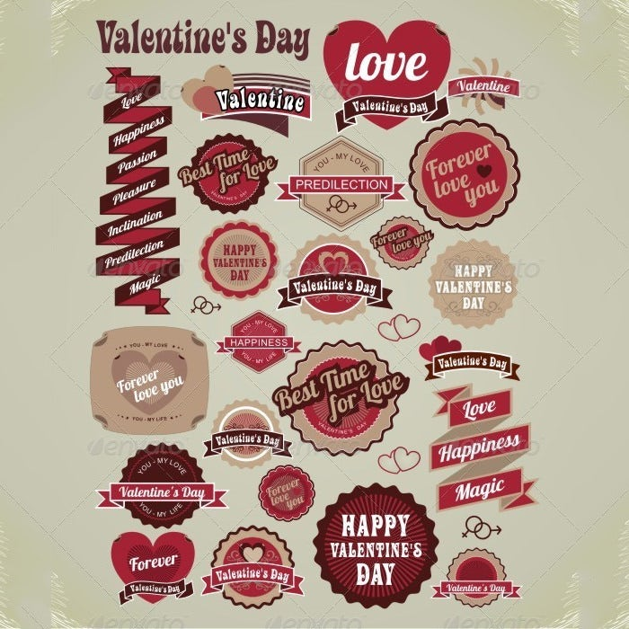 valentines day labels tags decorative items 2