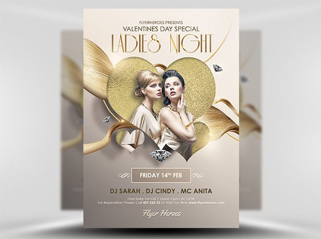 valentines day ladies night special flyer template