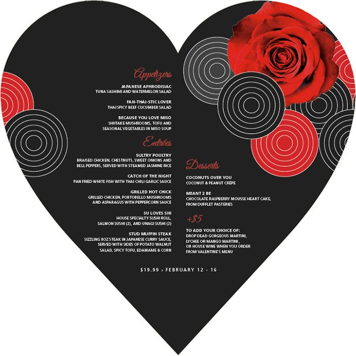 valentines day menu layout