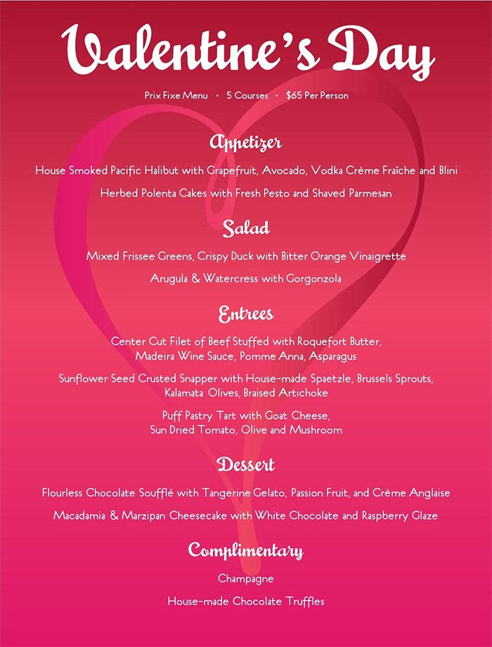 41  valentines menu templates