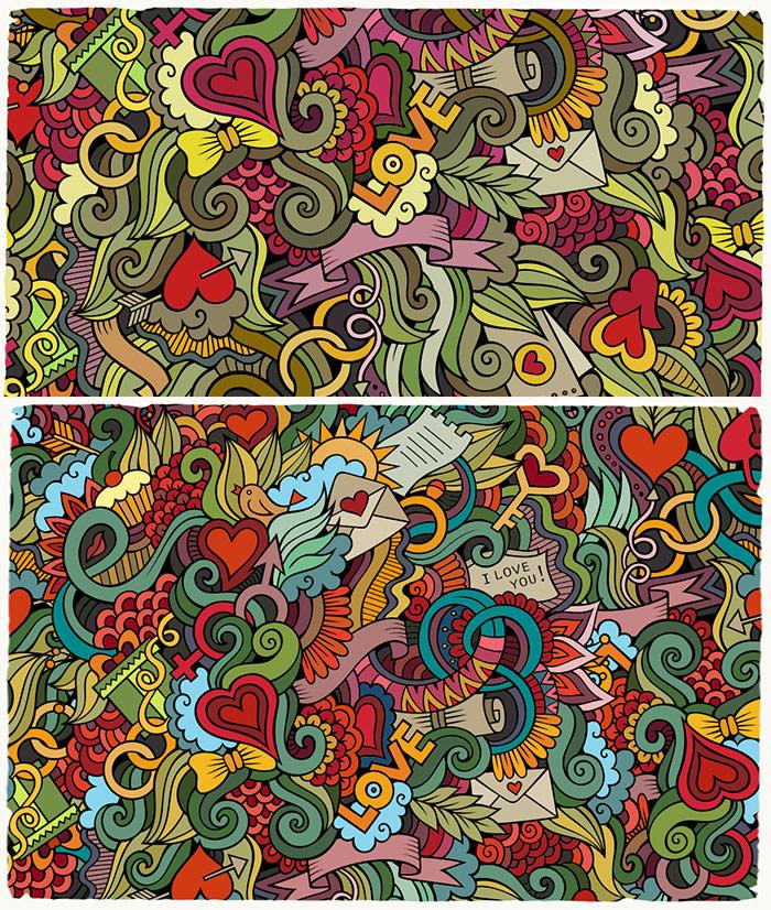 valentines love doodles pattern