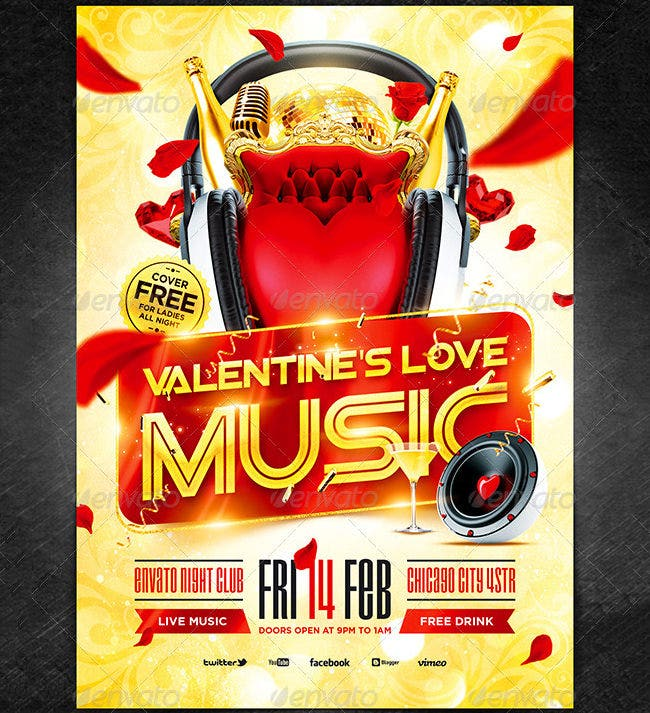 valentines love music flyer