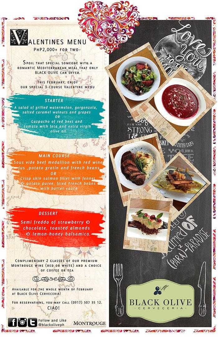 valentines menu for black olive