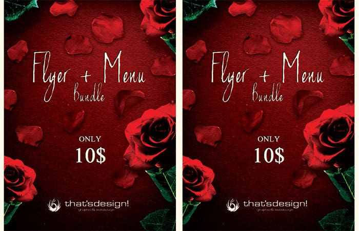 valentines day flyer and menu template 2