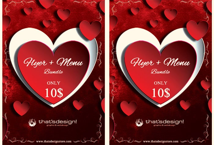 valentines day flyer and menu template