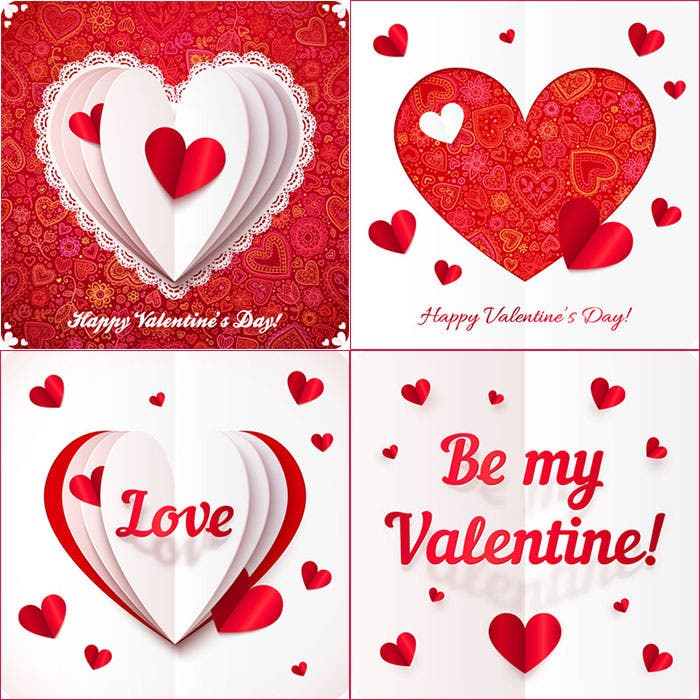 vector valentines day greeting cards