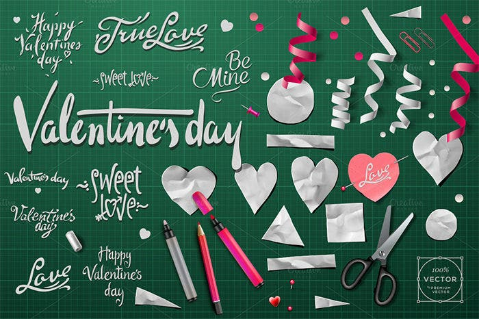 vector elements for valentines day