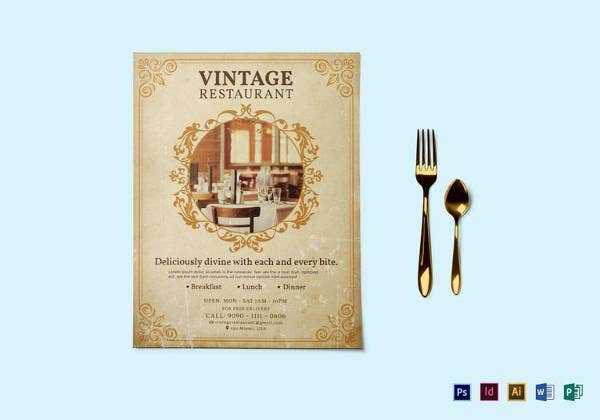 vintage restaurant flyer template