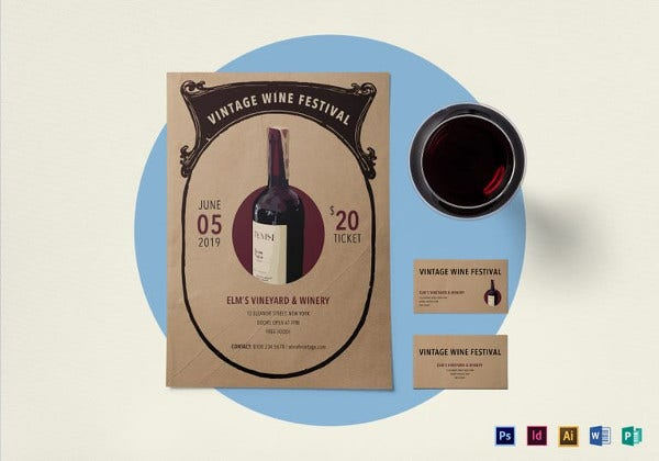 vintage wine festival flyer template