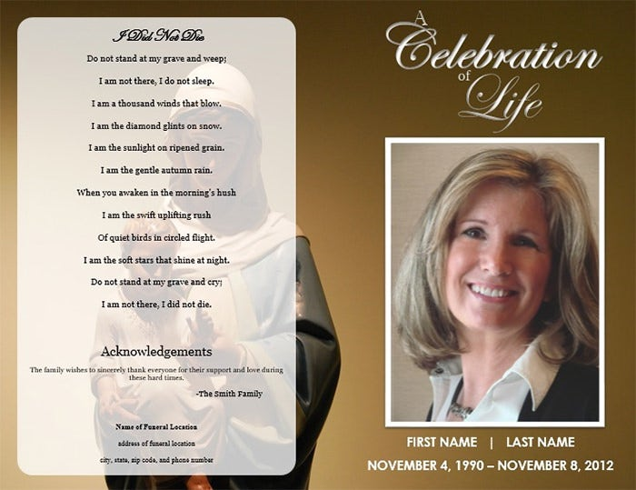 Funeral Program Templates Free Word PDF PSD Documents - Free printable funeral program template