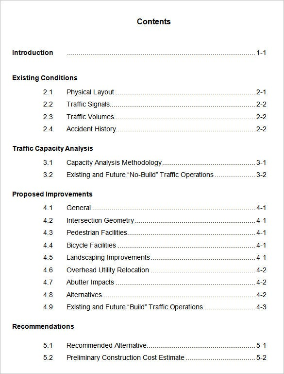 word foramt apa table of contents template
