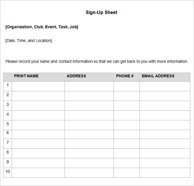 28 Sign Up Sheets Free Word Excel PDF Documents Download – Contact Information Template Word