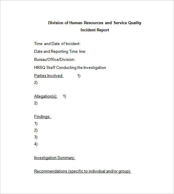 Workplace Incident Report Template  Incident Report Templates