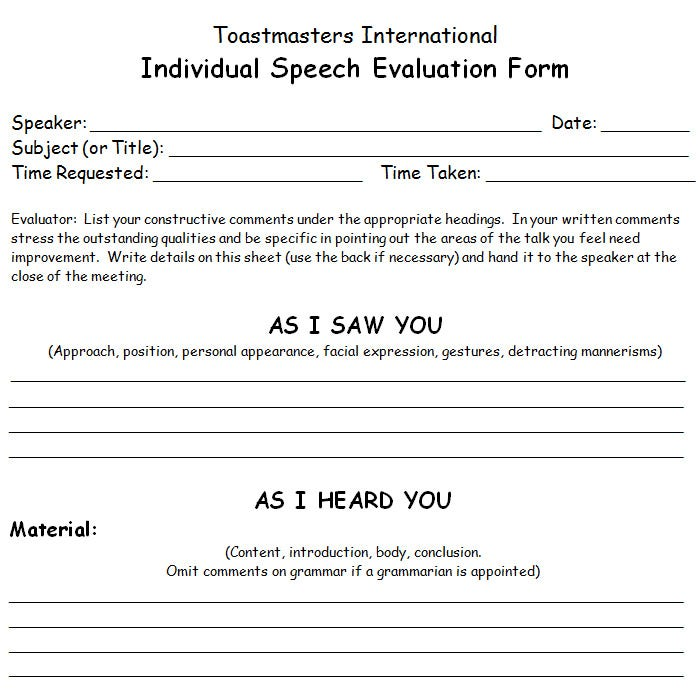 Toastmaster Evaluation Form  CityEsporaCo