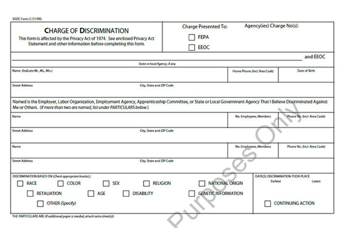 Eeoc Complaint Form Templates 5+ Free Sample, Example Format