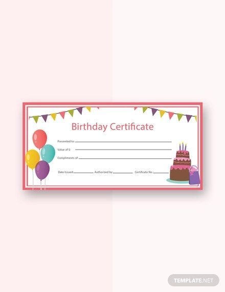 free birthday gift certificate