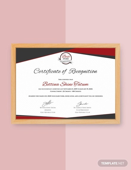 free certificate of recognition