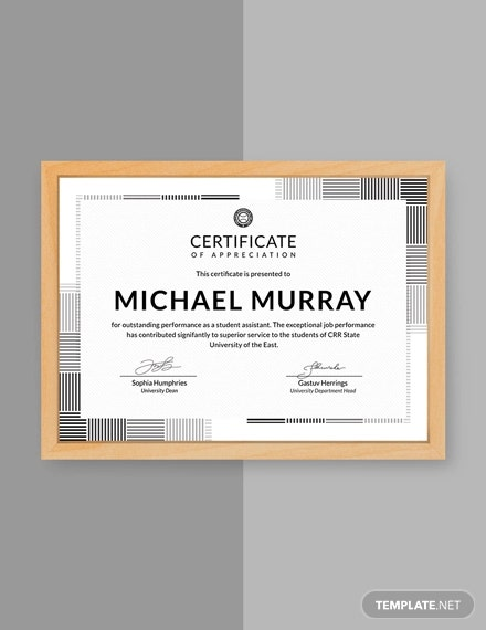 free formal certificate of appreciation