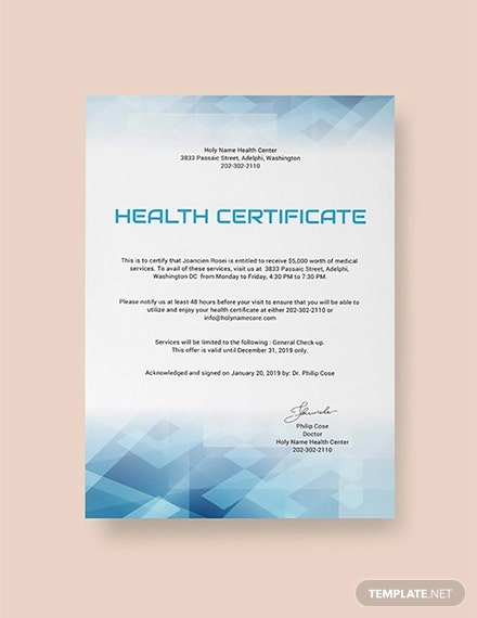 free health certificate