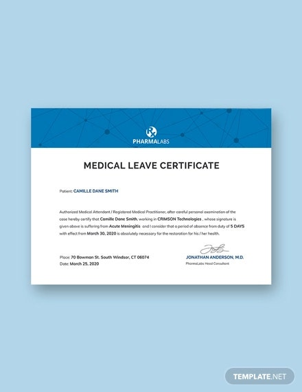 free medical certificate for casual leave certificate