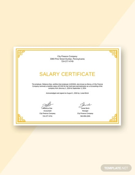 free salary certificate from employer